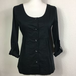 Old Navy S Black Cotton Button Front Top